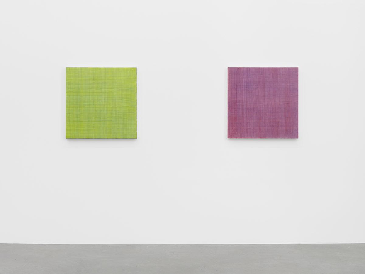 Ausstellungsansicht Blind*Date (2016) mit Werken von Marcia Hafif