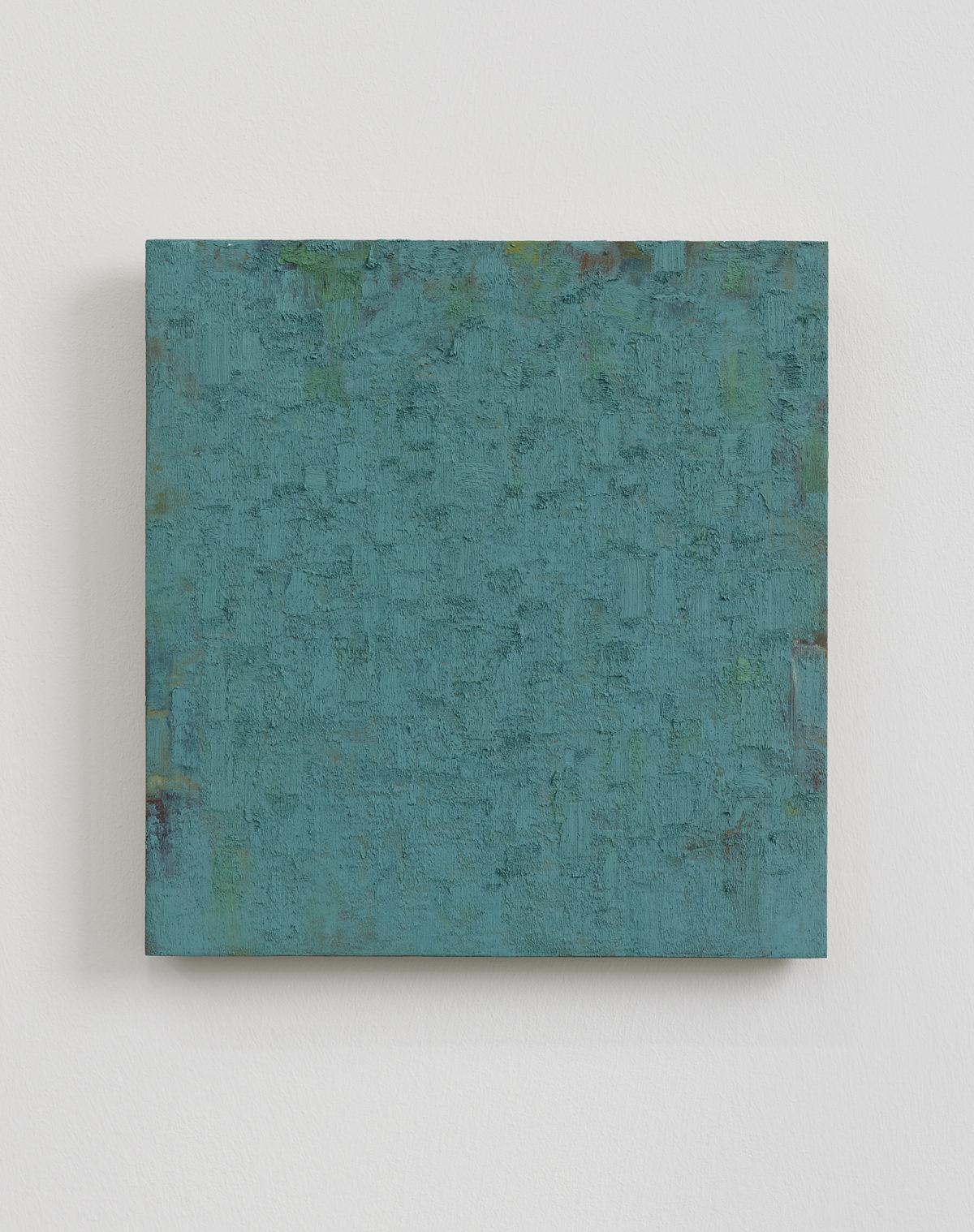 Peter Tollens rot grün türkis 2010 Öl auf Holz 37 x 35 cm